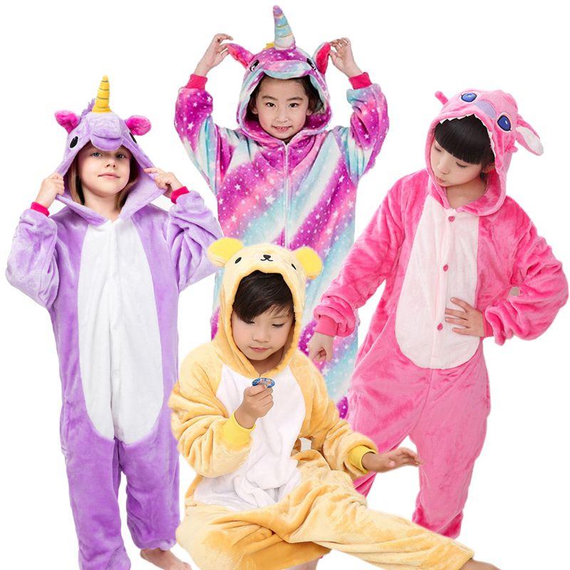 Pyjamas enfants chauds animaux Onsies flanelle vêtements de nuit pour enfants point de chat Panda pyjamas licorne pour filles garçons chemise de nuit Cosplay