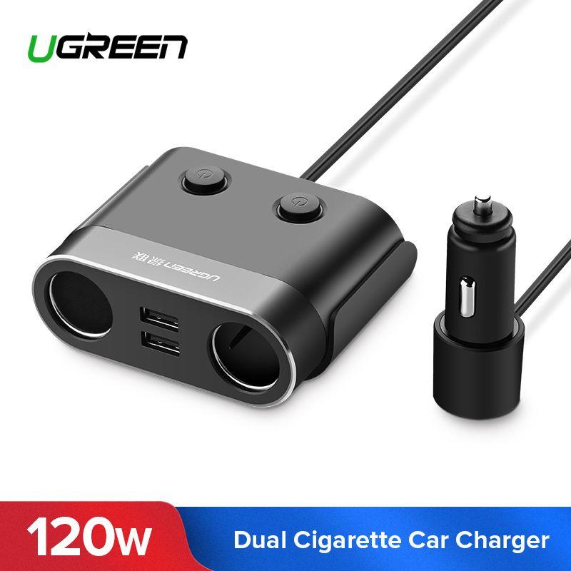 Ugreen double USB chargeur de voiture Support enregistreur de voiture universel téléphone portable chargeur de voiture avec chargeur d'extension pour iPhone 6S Samsung