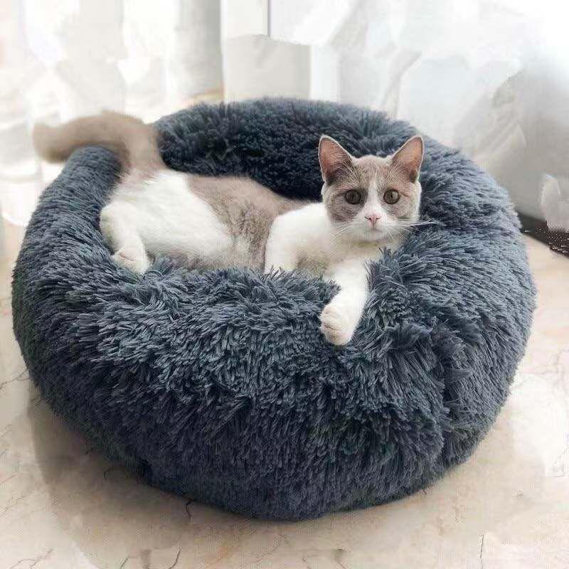 Coussin chaud de chaise longue de câlin de beignet d'animal de compagnie lavable de lit de chien d'ouatine pour les petits chiens moyens