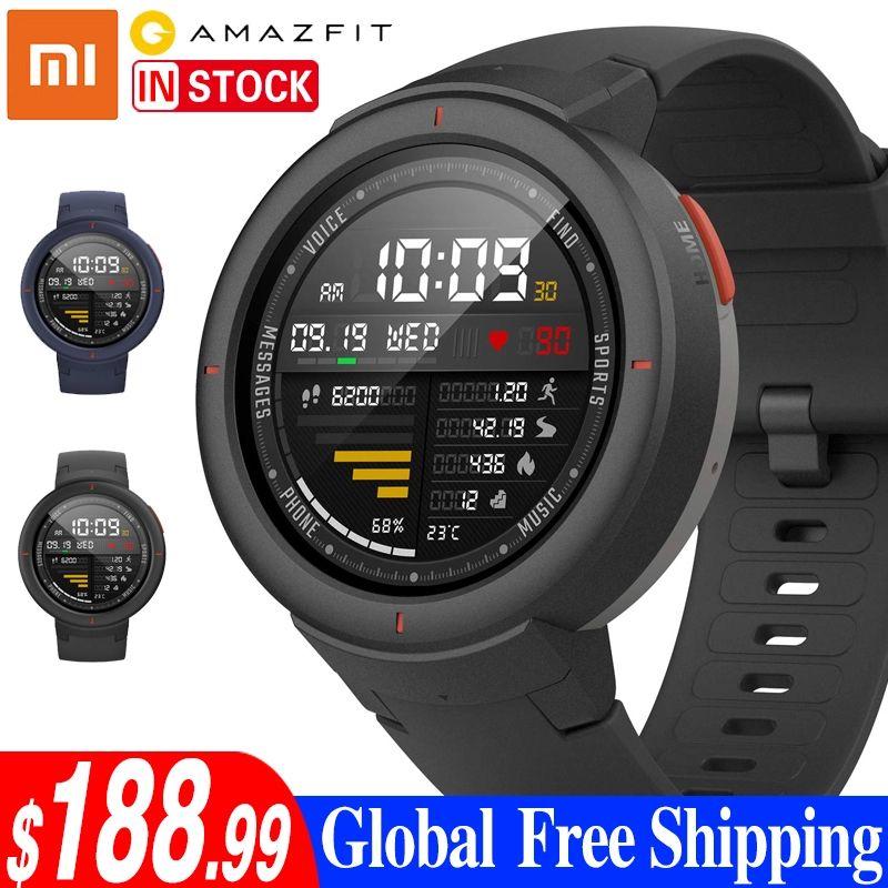Xiaomi Amazfit Smartwatch 1,3-zoll AMOLED Bildschirm Zifferblatt & Antwort Anrufe Verbesserte HR Sensor GPS Smart Uhr