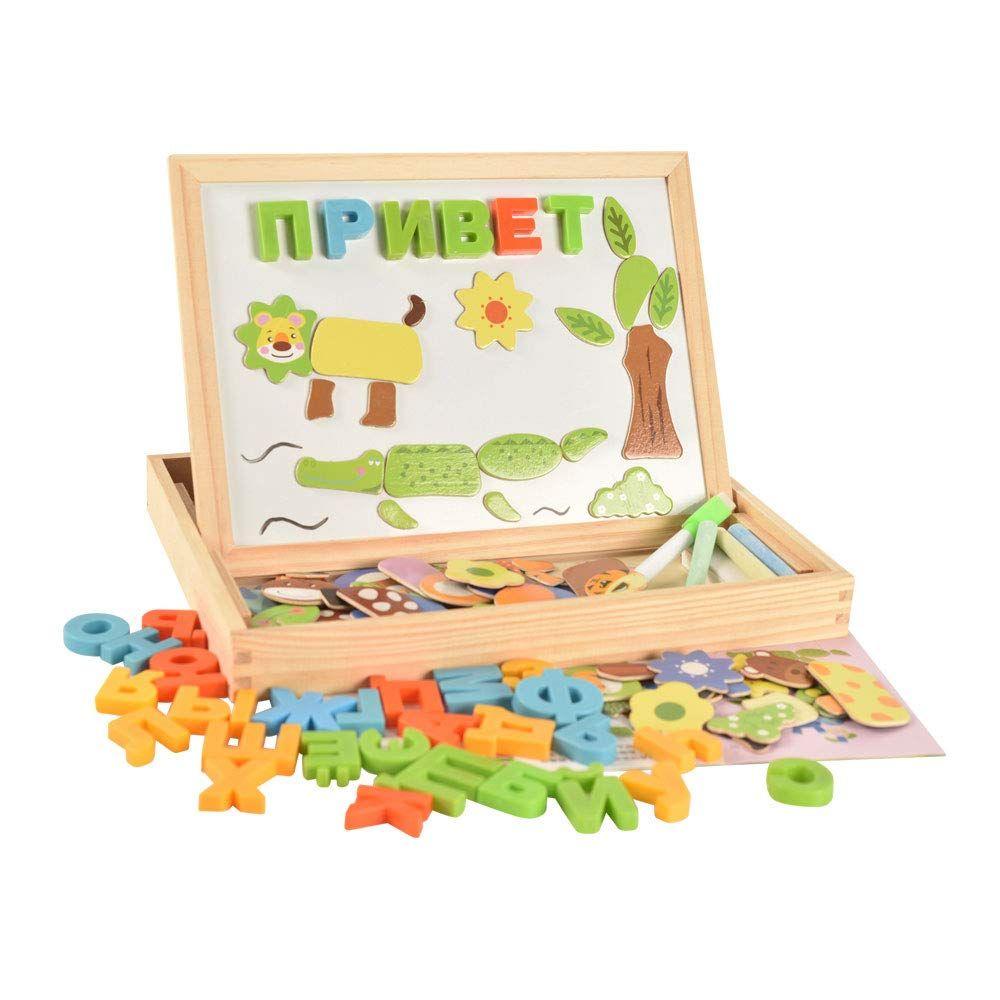 BOHS en bois russe Alphabet lettre Animal magnétique Puzzle planche à dessin apprentissage et éducation jouets loisirs pour enfants enfants