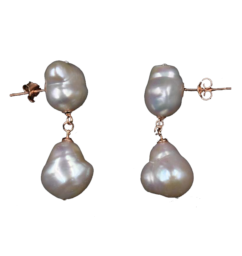 Livraison gratuite 11-12mm Baroque perle d'eau douce boucle d'oreille rose doré