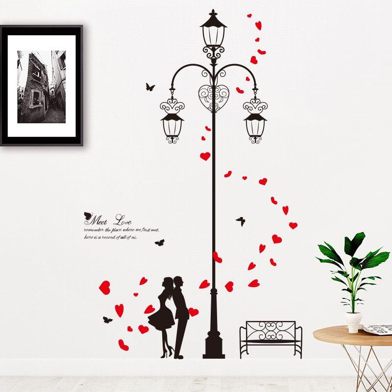 [SHIJUEHEZI] autocollants muraux pour amoureux pétales rouges bricolage Stickers muraux pour Couples de lumière de rue pour décoration de chambre de mariage