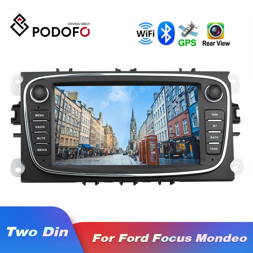 Podofo Android 8.1 GPS autoradios 2 Din lecteur multimédia de voiture lecteur Audio DVD 7 ''pour Ford/Focus/s-max/Mondeo 9/galaxy yc-max