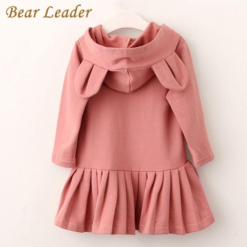 Leader ours filles robe nouvelle marque bébé filles Blouse oreilles de lapin à capuchon ruché à manches longues enfants vêtements robe filles vêtements