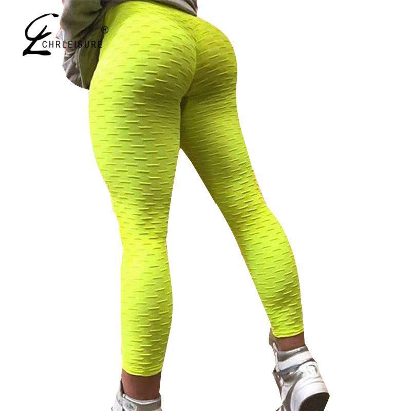CHRLEISURE Sexy Push Up Workout Leggings Women High Waist Tight Leggins Mujer Wrinkle Absorbent Breathable Women Leggings