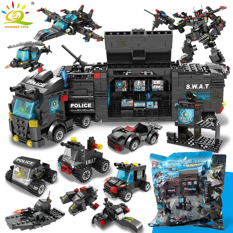SWAT Police Station truck model Building Blocks legoing City machine Helicopter Car Figures Bricks Educational Toys For Children