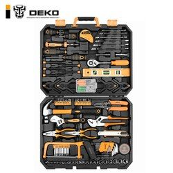 DEKO DKMT168 Socket Wrench Tool Set Auto Repair Mixed Tool Combination Package Hand Tool Kit with Plastic Toolbox Storage Case