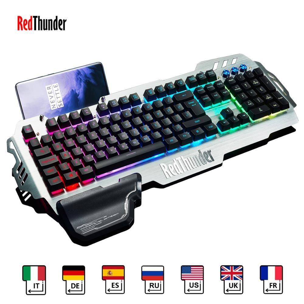 RedThunder K900 RVB Clavier De Jeu Mécanique Similaire Russe Espagnol Anglais Multilingue Couvercle En Métal pour Tablette De Bureau