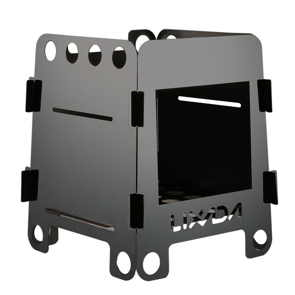 Lixada poêle à bois pliant poêle à alcool Portable pique-nique en plein air cuisinière BBQ brûleurs titane Camping poêle en acier inoxydable avec sac
