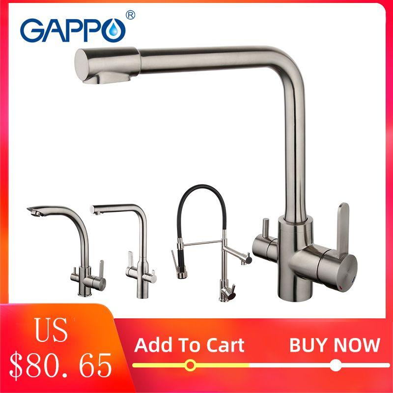 GAPPO robinet de cuisine avec eau chaude et froide inox robinet mitigeur robinet d'eau de cuisine robinet torneira para