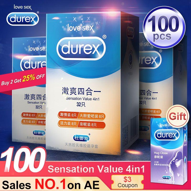 Durex préservatif 4 Types Ultra mince coq préservatif intime marchandises produits de sexe en caoutchouc naturel Latex manchon de pénis sexe pour les hommes