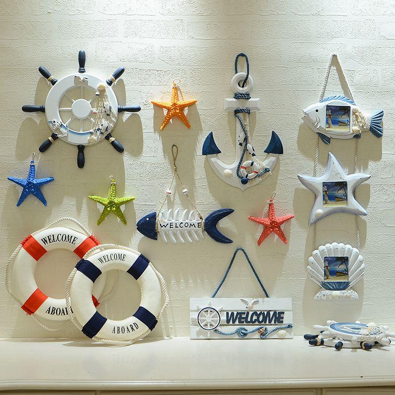 Style méditerranéen créatif étoile de mer poisson Net cercle Photo cadre décoration murale ornements Bar chambre décorations pour la maison accessoires