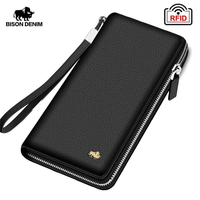 BISON DENIM marque en cuir véritable portefeuille RFID blocage pochette portefeuille porte-carte porte-monnaie fermeture à glissière homme Long portefeuilles N8195