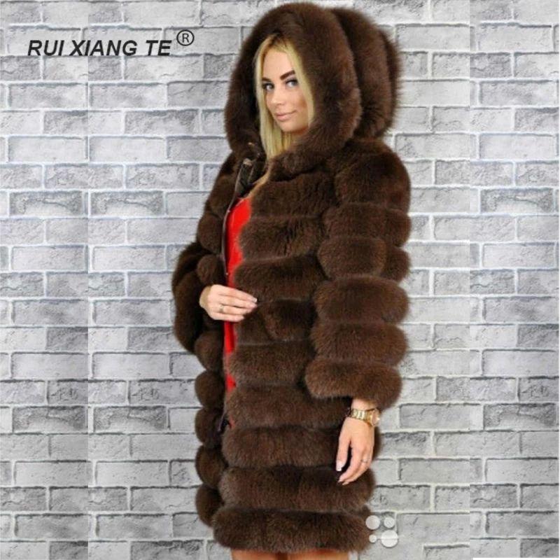 Echt Fuchs pelz mantel für frauen natürliche Fuchs pelz mantel Mit kapuze lange Ärmel lange winter pelzmantel