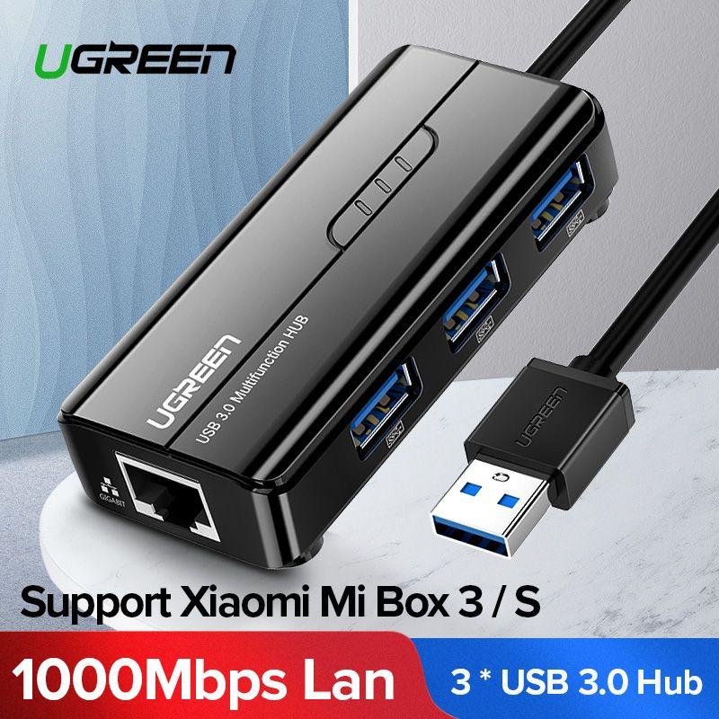 Ugreen USB Ethernet USB 3.0 2.0 à RJ45 HUB pour Xiao mi boîte 3/S décodeur Ethernet adaptateur carte réseau USB Lan