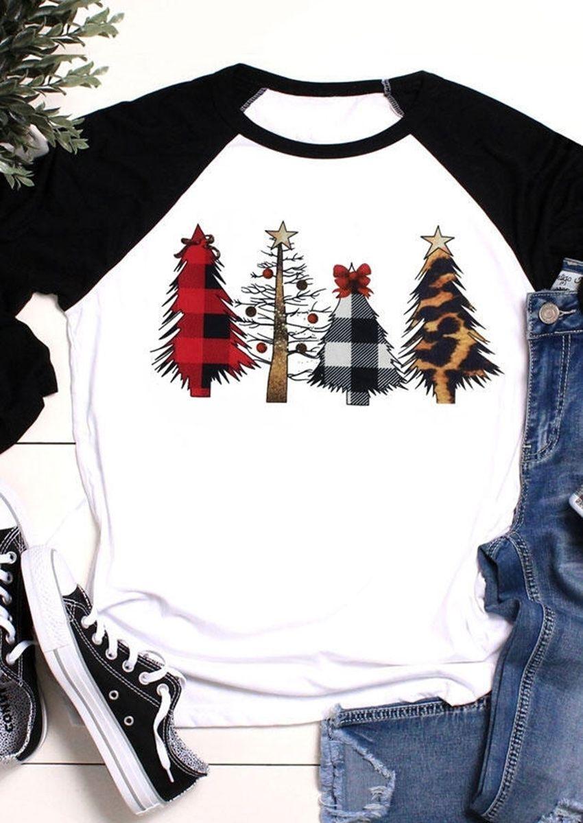 T-shirt de noël femmes arbre de noël Top trois quarts manches t-shirts 2019 automne hiver t-shirts à manches Raglan