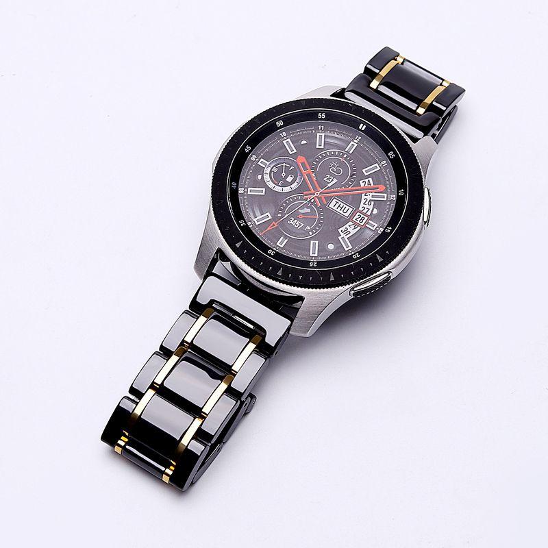 20mm 22mmbande de montre en céramiquePour Samsung Galaxy 42/46 activebracelet Gear s2 s3Sangle de remplacementBande de montreBoucle papillon