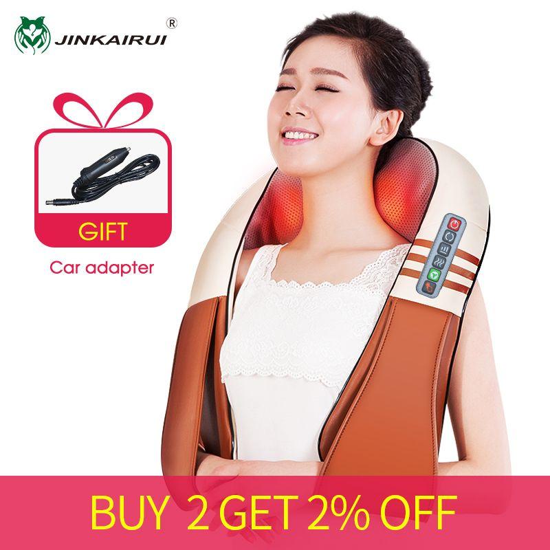 (with Gift Box)JinKaiRui U Shape Electrical Shiatsu Back Neck Shoulder Body Massager Infrared Heated Kneading Car/Home Massagem