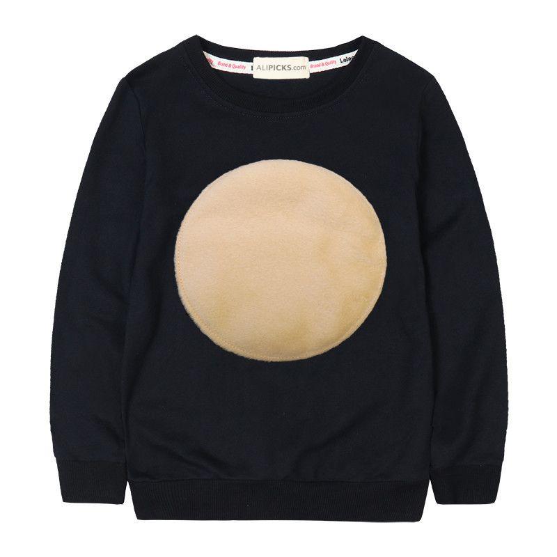 Enfants automne coton Sweatshirts velours cercle Logo Simple filles hiver hauts bébé fille Hoodies décontracté garçon Sweatshirts