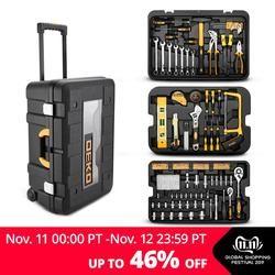 DEKO 258 Pcs Tool Set with Rolling Tool Box Metric Socket Wrench Hand Tool Kit Storage Case Socket Wrench Screwdriver Knife