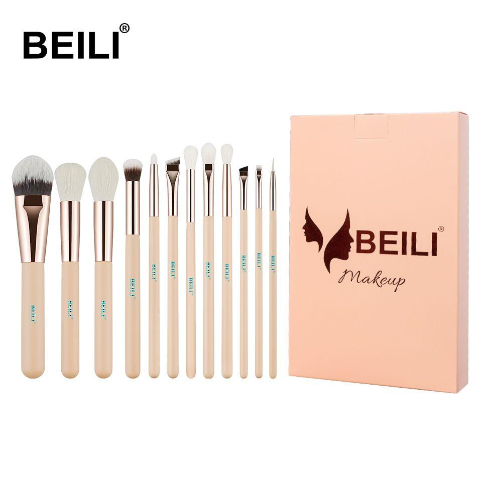 BEILI Rose 12 pièces Rose doré naturel cheveux de chèvre Premium fond de teint ombre à paupières Blush poudre surligneur correcteur maquillage pinceau ensemble