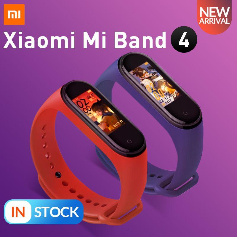 En Stock 2019 nouveau Xiao mi bande 4 Smart couleur écran Bracelet fréquence cardiaque Fitness 135mAh Bluetooth 5.0 50M natation mi ng étanche