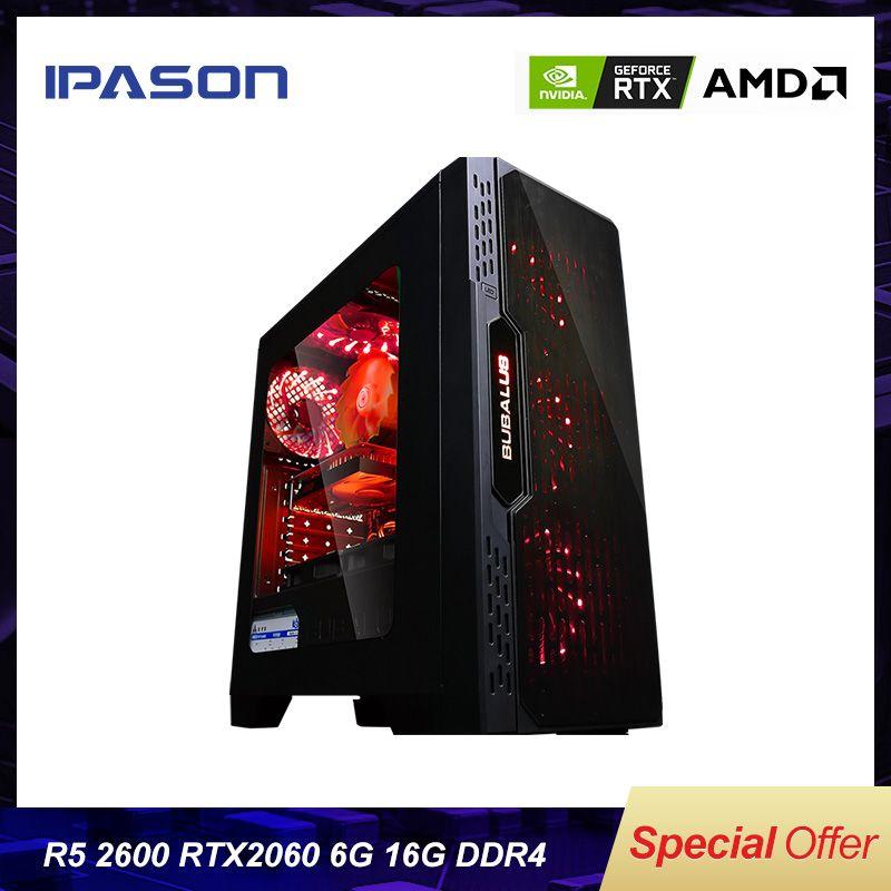 BESTE Gaming PC Ipason AMD Ryzen5 2600/B450/2060 6G/DDR4 16G/240G SSD Desktop-Computer