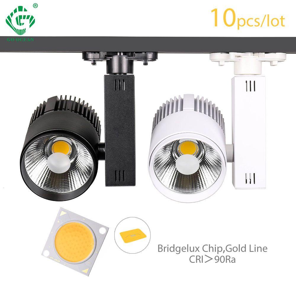 Éclairage de Rail Rail lampe Spot 30W COB vêtements chaussures magasin piste lumières LED projecteur 2/3/4 fil 3 phase piste lampe 10 pcs/lot