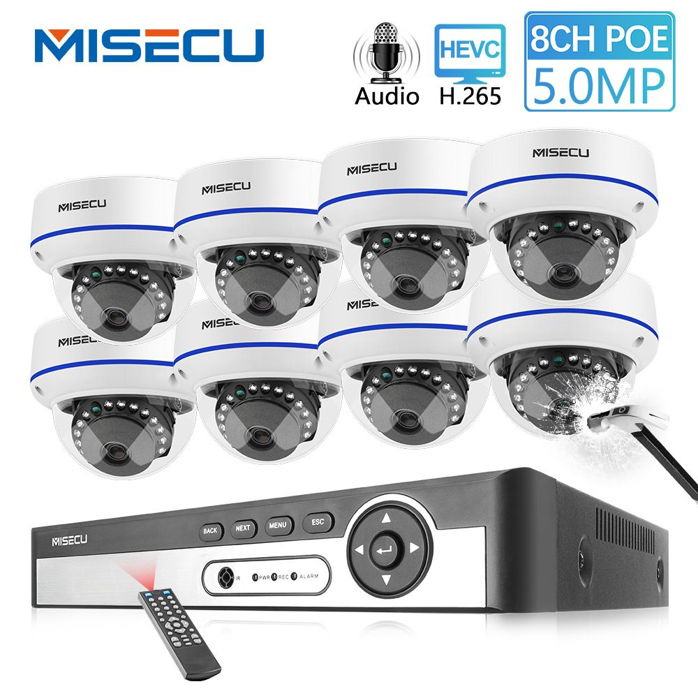 MISECU H.265 8CH 4MP POE Kamera Audio CCTV System 5.0MP IP POE Vandal Proof Wasserdichte Kamera Video Sicherheit Überwachung Kit