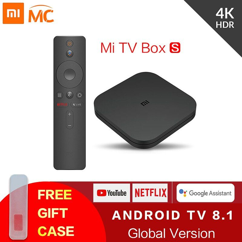 Boîtier TV Original Global Xiao mi mi TV S 4K HDR Android TV 8.1 Ultra HD 2G 8G WIFI Google Cast Netflix IPTV décodeur 4 lecteur multimédia
