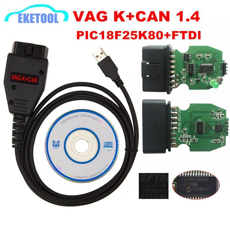 Pour VAG K + peut Commander 1.4 carte PCB verte PIC18F25K80 FTDI FT232RQ puce pour AUDI/VW/Skoda/Seat VAG K + peut 1.4 k-line Commander complet