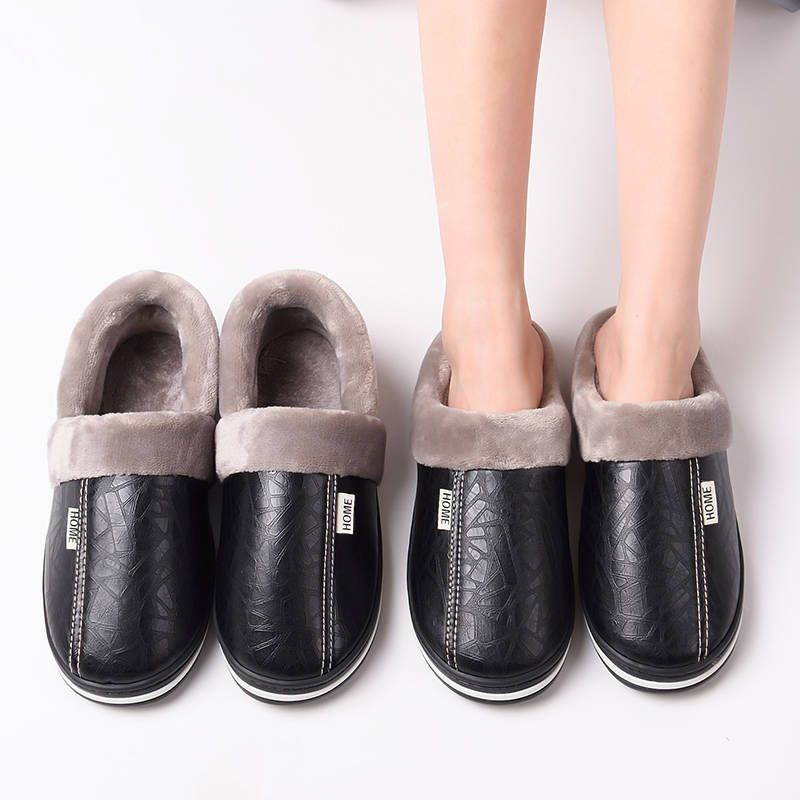 Luxury brand slippers unisex shoes winter home slippers women big size 35-47 leather slippers womens fur slippers