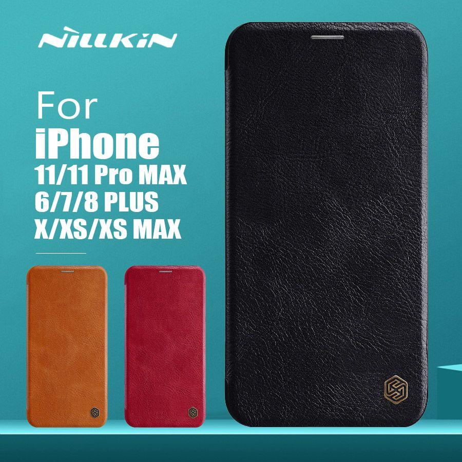 Pour iPhone 11 Pro Max X XR XS Max Cas Nillkin Qin Luxe Étui En Cuir Étui de Téléphone étui pour iPhone 11 8 7 6 6S Plus 5 5S SE Couvrir