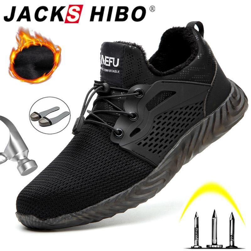 JACKSHIBO chaussures de travail de sécurité bottes pour hommes mâle protecteur en acier orteil bottes Anti-fracassant Construction sécurité travail baskets
