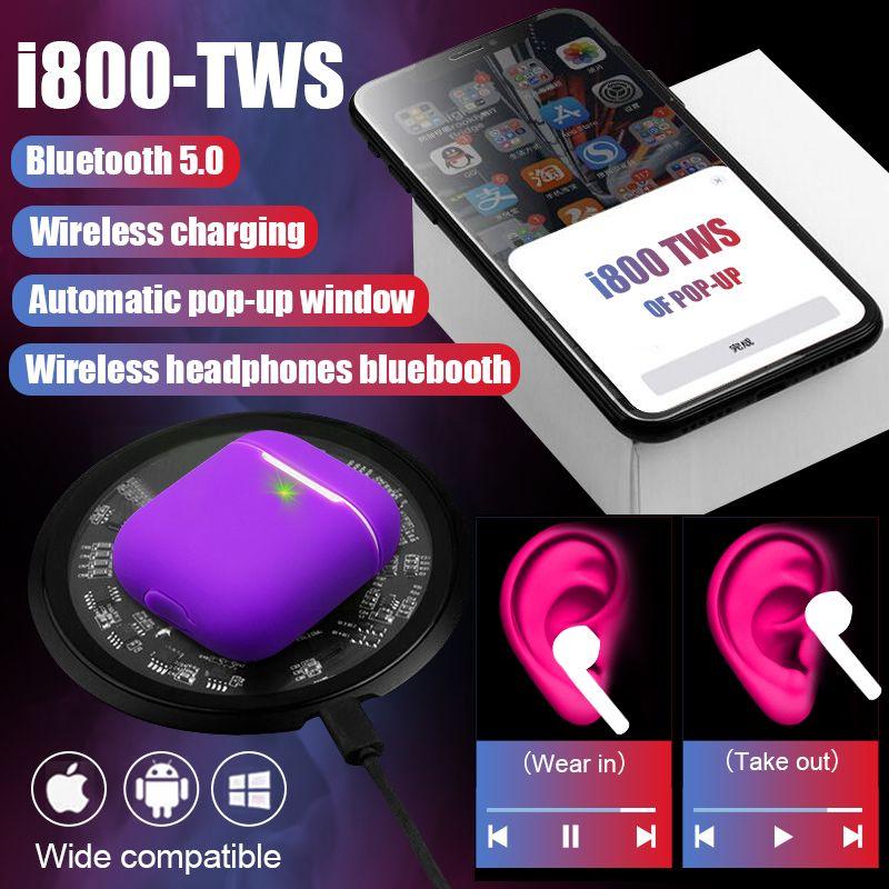 i800 TWS Arie2 6D Pop Up Wireless Bluetooth Earphone Separate Use QI Wireless Charging Bass Earphones PK i200 i90 i12 i500
