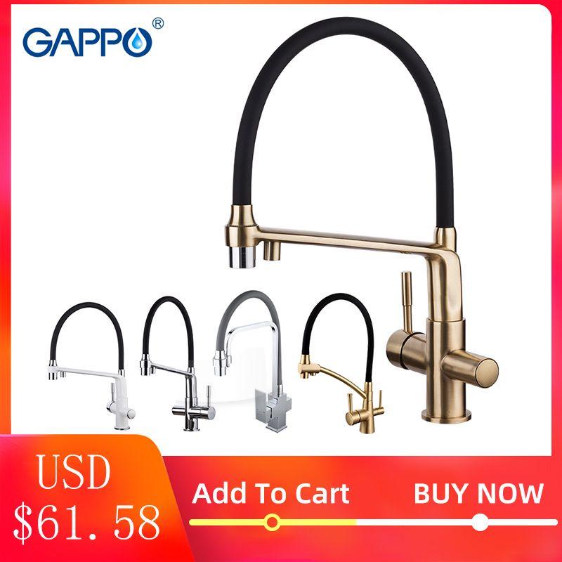 GAPPO robinet de cuisine chrome cuisine évier robinet mitigeur torneira laiton cuisine robinet d'eau robinet avec robinets d'eau filtrée