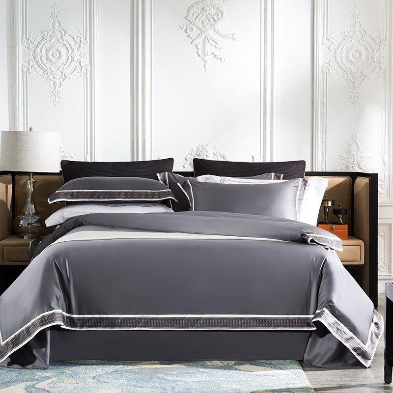 Chic Home Hotel Kurze Stil Seidige Weiche Ägyptischer Baumwolle Schlafzimmer Bettbezug Bettwäsche Set bettlaken Kissenbezug Königin König größe 4Pcs