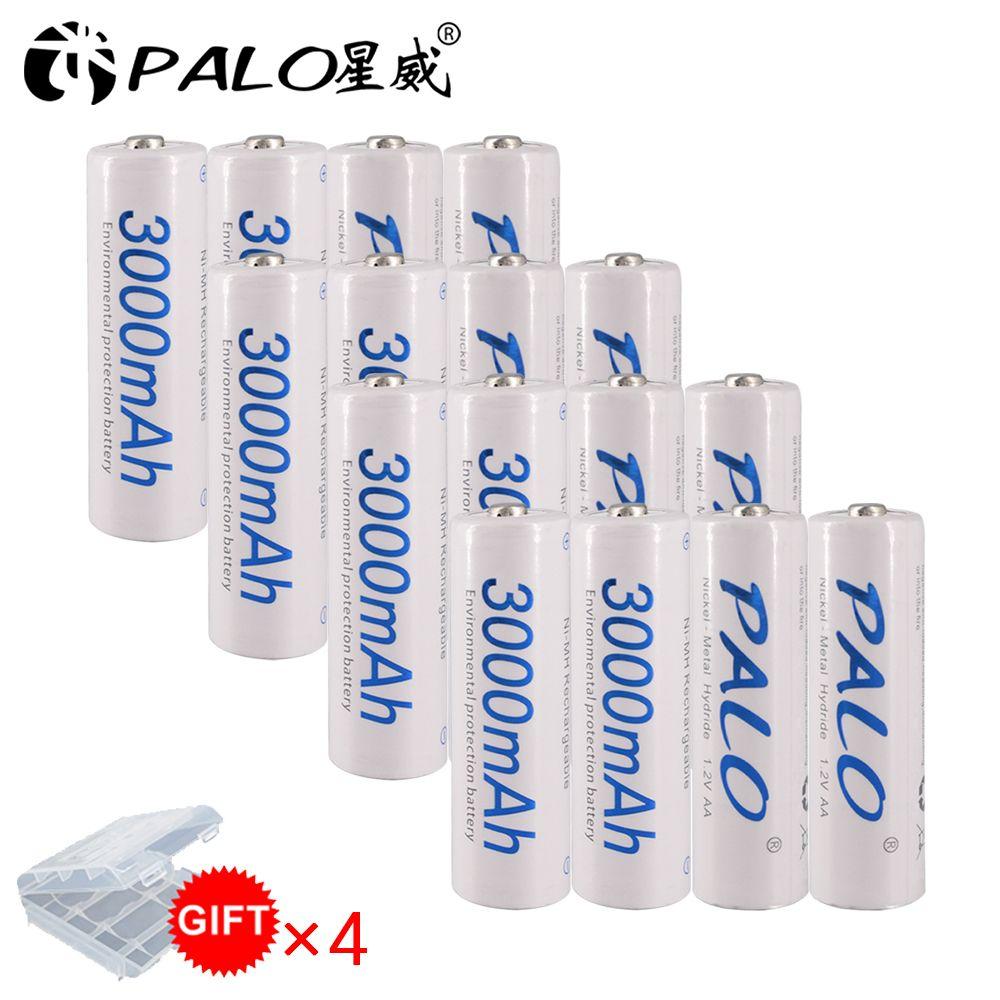16 pièces 3000mAh 1.2v AA batterie Rechargeable pour jouet lumineux à LED batterie de placement pour caméra MP3 mp4 microphone