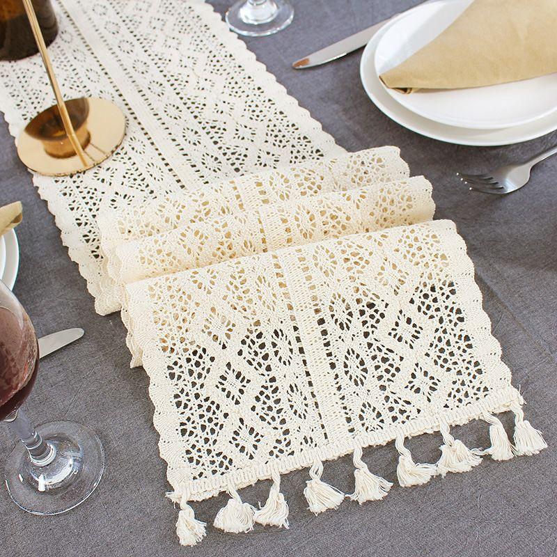 Chemin de Table en dentelle au Crochet Beige avec gland coton décor de mariage nappe creuse couverture de Table Romance nordique chemins de lit café