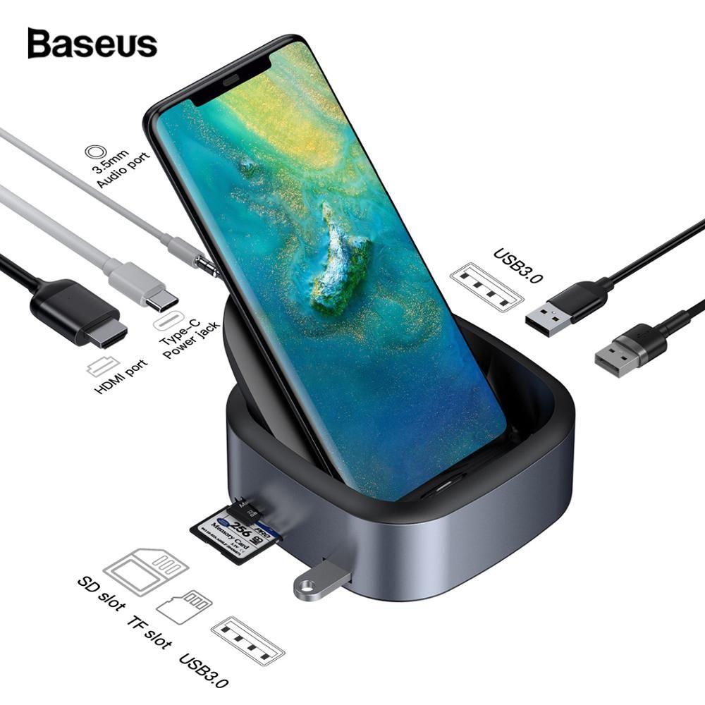 Baseus USB C HUB Docking Station Für Huawei P30 P20 Pro Samsung S10 S9 Dex Pad Typ C zu USB3.0 HDMI Jack 3,5mm PD Ladegerät Dock