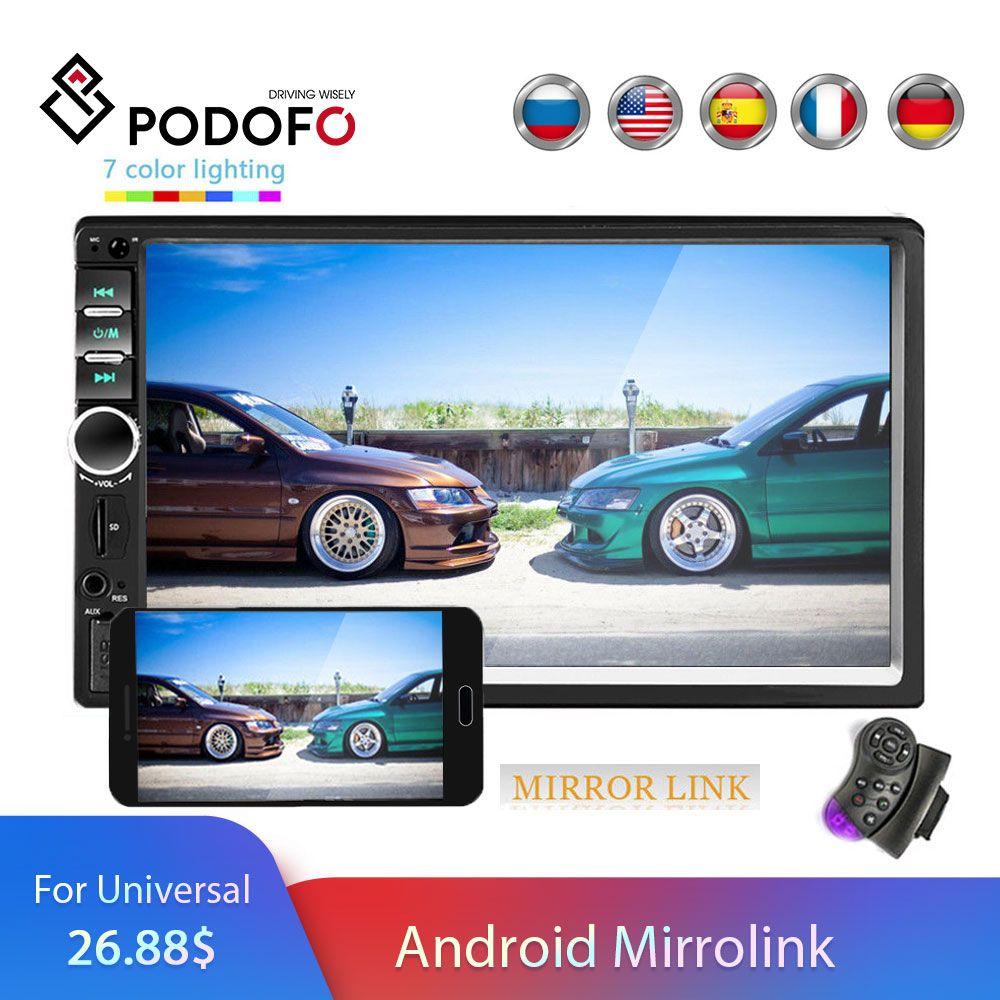 Podofo 2 din Autoradio lecteur multimédia Autoradio stéréo 7 Bluetooth 2din Auto audio vidéo MP5 USB FM caméra de sauvegarde universelle