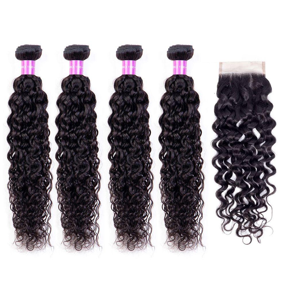 Paquets de vague d'eau avec fermeture paquets brésiliens d'armure de cheveux avec fermeture Remy cheveux humains 4 paquets avec fermeture