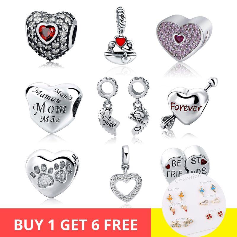 SG Hot 925 argent Sterling charmes maman pour toujours meilleur ami coeur amour pendentif perles Fit Bracelet pandora pour les femmes bijoux