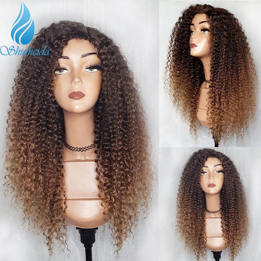 SHD Ombre couleur perruque avant en dentelle avec des cheveux de bébé brésilien crépus bouclés perruques de cheveux humains pour les femmes Remy cheveux sans colle perruques de dentelle