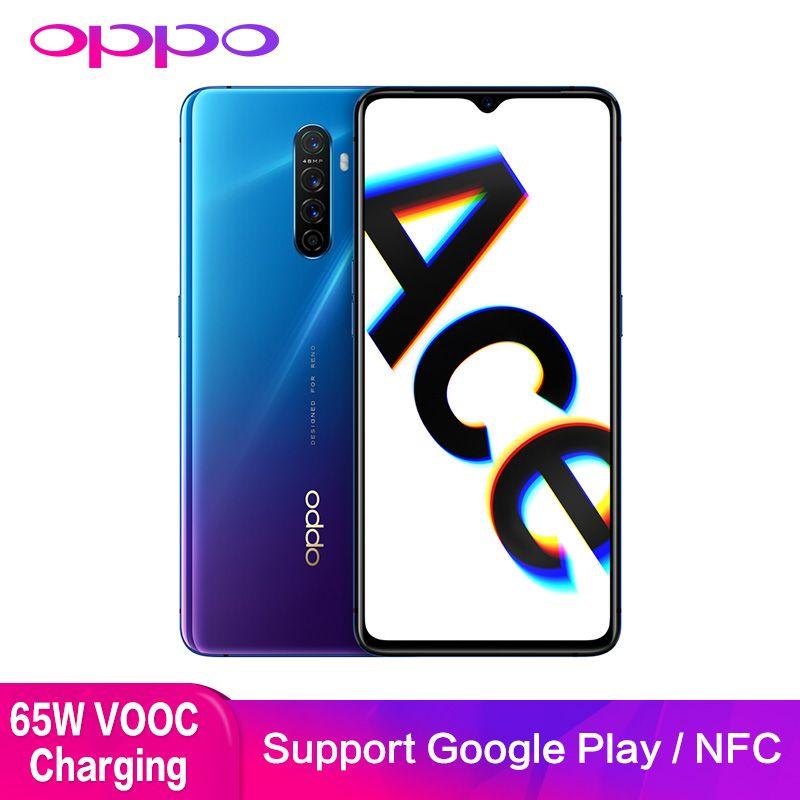 OPPO Reno Ace Unterstützung NFC OTG Google Spielen 90HZ Spiel Bildschirm 8GB 128GB 48.0MP 65W Super VOOC GPS Doppel WIFI Mobilen Smartphone