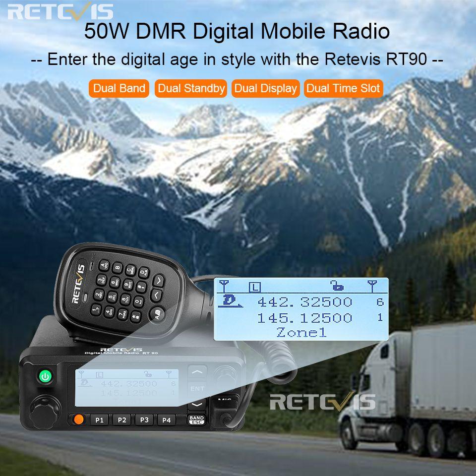 Retevis RT90 DMR Digitale Mobile Radio GPS VHF UHF Transceiver Dual Band 50W Mobile Auto Zwei Weg Radio Station mit Programm Kabel