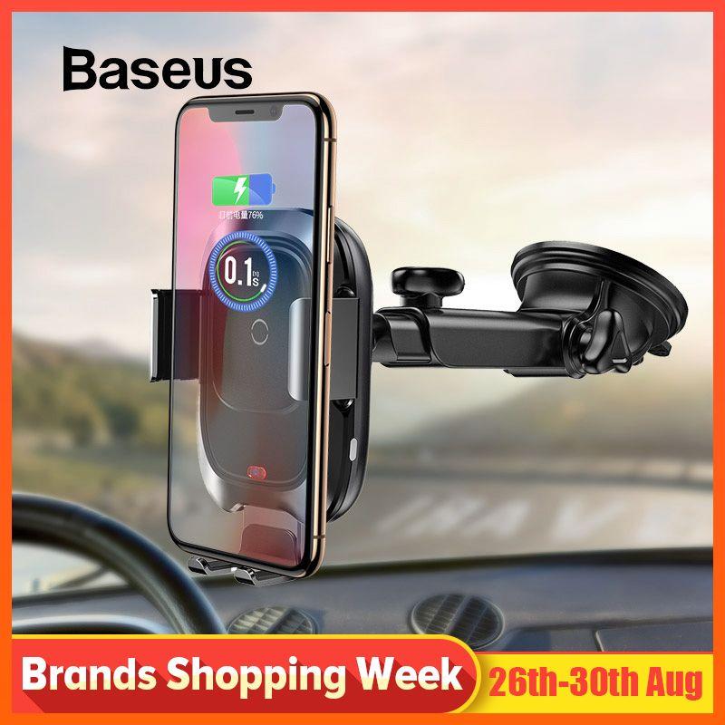 Chargeur sans fil de voiture Baseus Qi pour iPhone chargeur de téléphone portable infrarouge Induction rapide sans fil de charge support pour téléphone de voiture