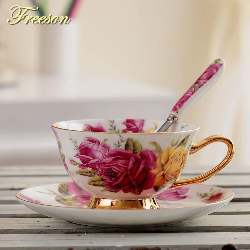 Pastorale Rose os chine thé tasse soucoupe cuillère ensemble 200ml Europe avancée porcelaine café tasse en céramique Floral tasse à thé livraison directe