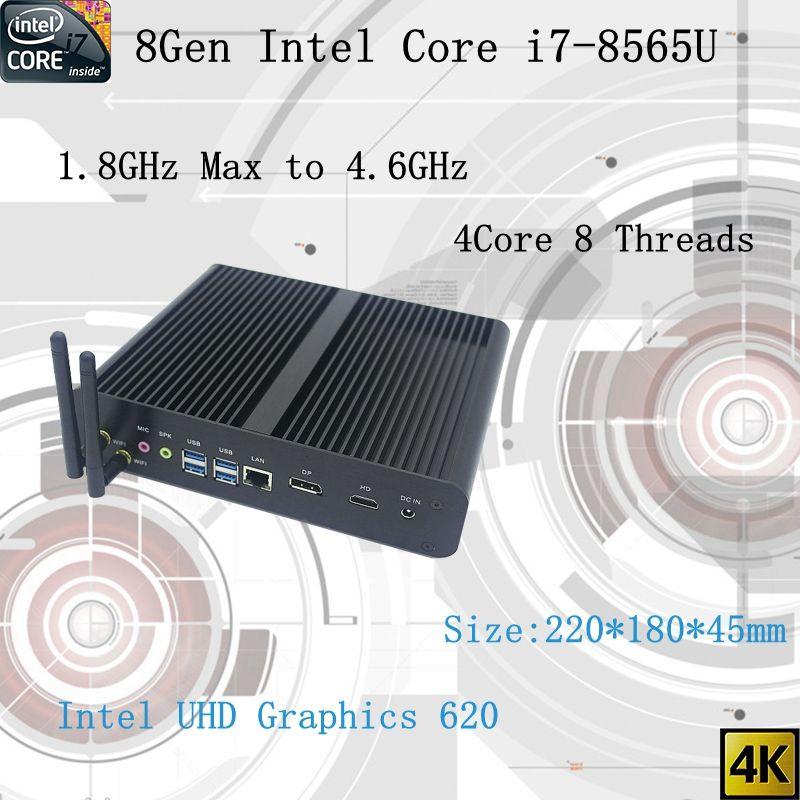 Neueste 8Gen Fanless mini pc i7 8565U CPU 4,6 GHz Intel UHD620 win10 Quad Core 8 Threads DDR4 2133 2400 2666 NUC Freeshipping pc